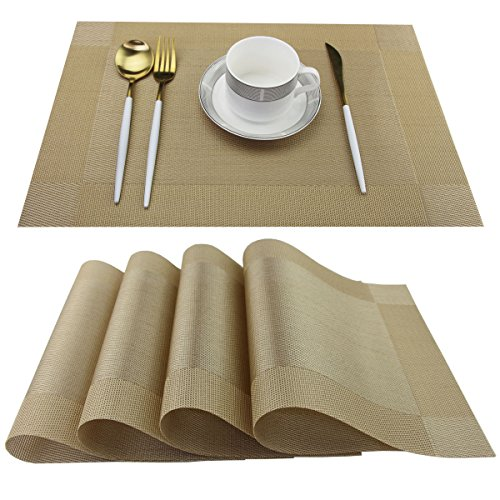 SINTELINE Placemats Easy to Clean Plastic Kitchen table place mats Washable PVC Woven Vinyl Placemat for Dining Table Mats Set of 6Gold 6