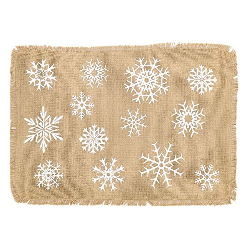 VHC Brands Snowflake Burlap Placemat Set of 6 12x18