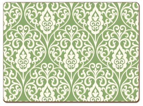 Green Damask Hardboard Placemat