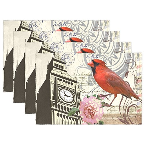 Naanle Vintage Placemats Floral Bird Big Ben Heat-resistant Washable Table Place Mats for Kitchen Dining Table Decoration