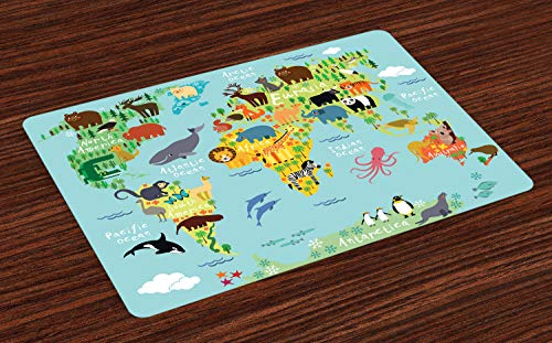 Ambesonne Wanderlust Place Mats Set of 4 Animal Map of The World for Children Kids Cartoon Mountains Forests Washable Fabric Placemats for Dining Table Standard Size Pale Blue