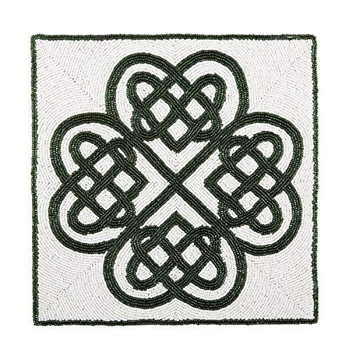 Nantucket Home St Patricks Day WhiteGreen Celtic Beaded Place Mat Placemat Centerpiece - Seasonal Decor