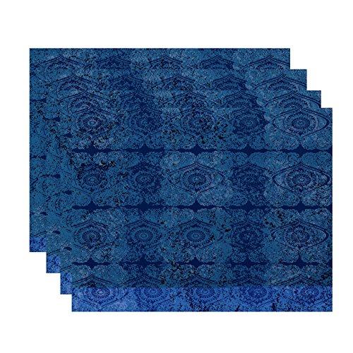 E by design PT4GN725BL45 18x14 Patina Geometric Print Placemat Blue Set of 4