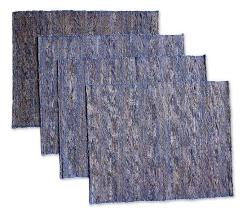 NOVICA Blue Natural Fiber Cotton Blend Placemats Blue Nature Set of 4