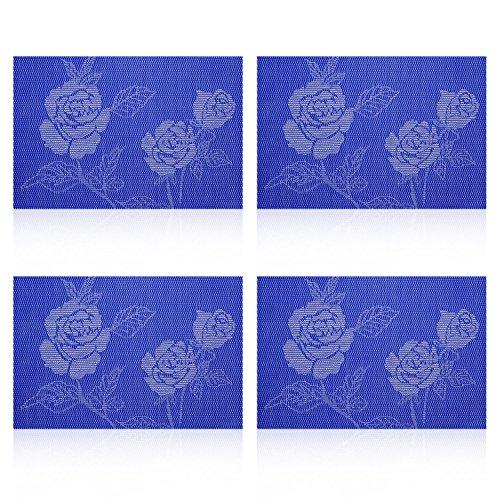 UArtlines 4Pcs Vinyl Placemats for Dining Room Stain-resistant Eat Mats for TableWashable Non-slip Jacquard Decor Vinyl Simple Style Place Mats-Blue Rose