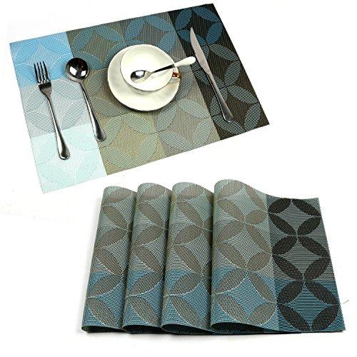Uartlines 4 Pcs PVC PlacematsDining Room Heat Insulation Stain-resistant Eat Mats for Table Rectangle Washable Non-slip Decor Jacquard Woven Plastic Vinyl Simple Style Place Mats Blue