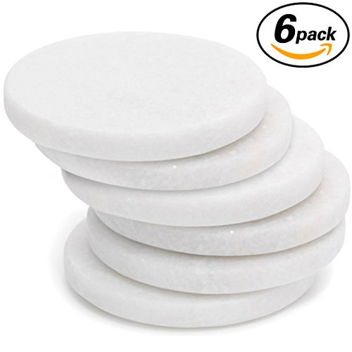 Coasters Marble Coaster Set of 6-Polished Multi-functional Drink Coasters-Protect Your Furniture From Damage Scratch-Awesome Christmas Gift by 365park