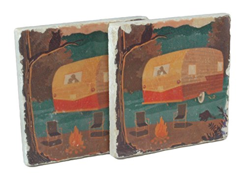 Woodsy Camper Handmade Botticino Marble Coaster - Set of 2