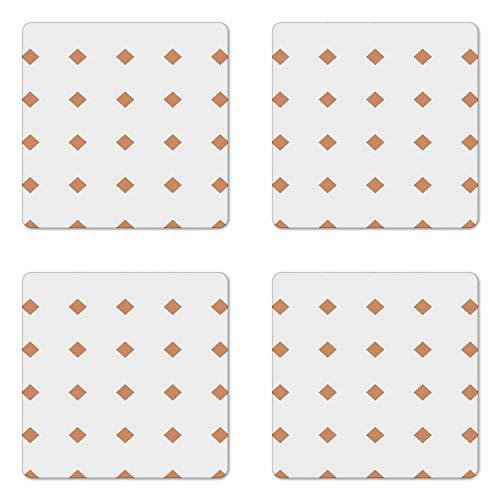 Lunarable Bohemian Vintage Coaster Set of 4 Multitude Continuous Little Symmetric Squares on Plain Backdrop Square Hardboard Gloss Coasters Standard Size White Persian Orange