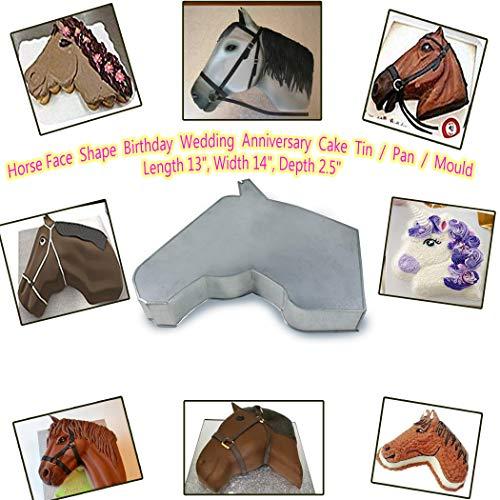 Horse Face Shape BirthdayWedding Anniversary Cake TinPanMould Length 13 Width 14 Depth 25