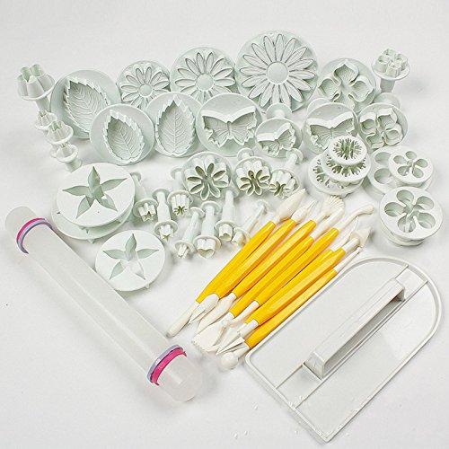 Leegoal Cake Tools 14 sets 46pcs Flower Fondant Cake Sugarcraft Decorating Kit Cookie Mould Icing Plunger Cutter Tool