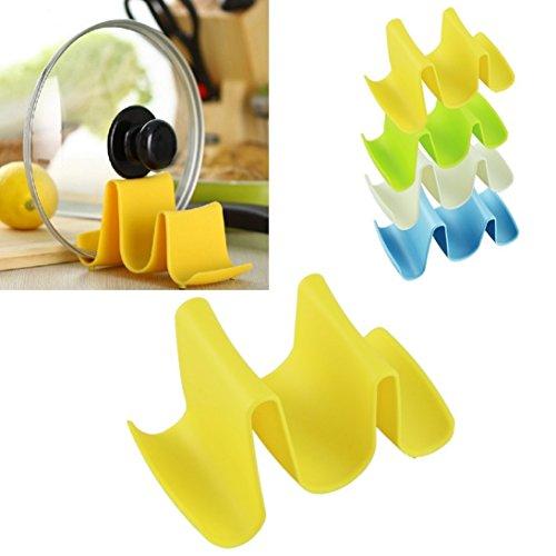 Dealglad New 2pcs Creative Multi-function Wave Shape Pan Spoon Pot Cover Lid Rack Storage Stand Holder Kitchen Tool Random Color