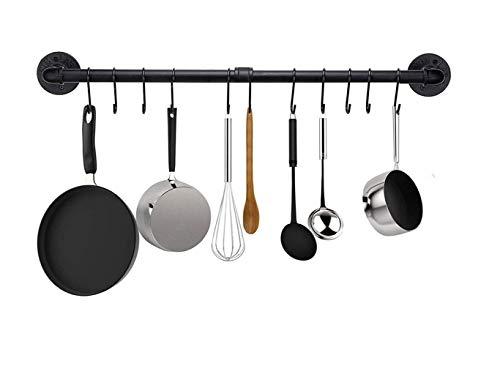 Kitchen Pot Rack Willor 315 inch Wall Hanging Pot Rack Kitchen Utensils Hanger Detachable Rail with 8 S Hooks Black