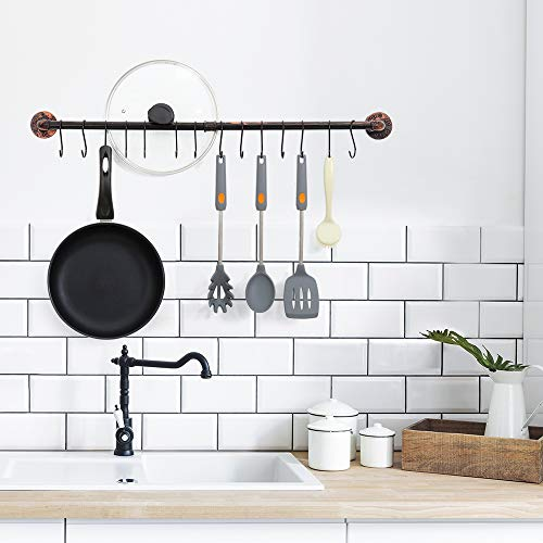 Wall Hanging Pot Rack Industrial Pipe Pot Rack Wall Mounted Kitchen Pot Lid Organizer Hanging Rail Cookware Rack with 14 S Hooks Bronze