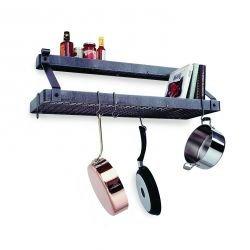 Enclume Premier Bookshelf Wall Pot Rack with Shelf Hammered Steel