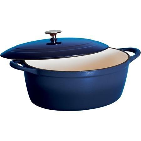 Cobalt Blue Gourmet 7-Quart Cast Iron Covered Oval Dutch Oven