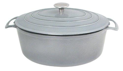 Le Cuistot Vieille France Enameled Cast-Iron 7 Quart Oval Dutch Oven - Classy Grey