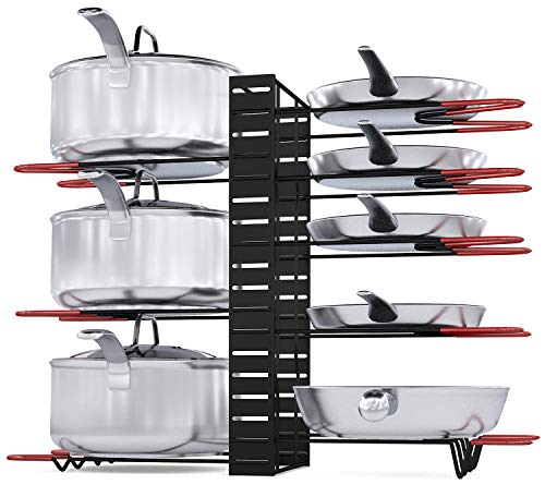 Pot Rack Organizer 3 DIY Methods Height and Position are Adjustable 8 Pots Holder Black Metal Kitchen Cabinet Pantry Pot Lid Holder