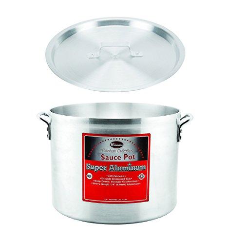 Winco AXHA-8 8-Quart 10 x 6-18 Aluminum Sauce Pot With 6-Mm Super Aluminum Bottom with Cover Commercial Grade Stock Pot with Lid