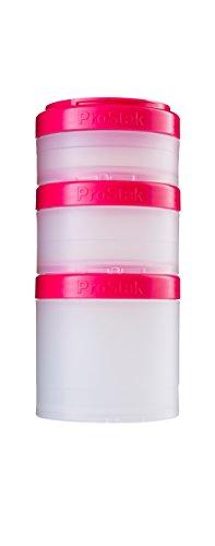BlenderBottle ProStak Twist n Lock Storage Jars Expansion 3-Pak with Pill Tray ClearPink