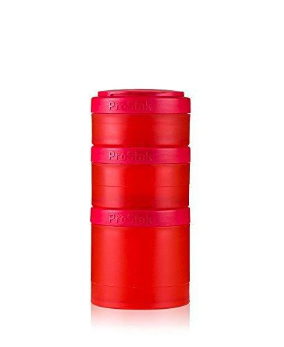 BlenderBottle ProStak Twist n Lock Storage Jars Expansion 3-Pak with Pill Tray Red