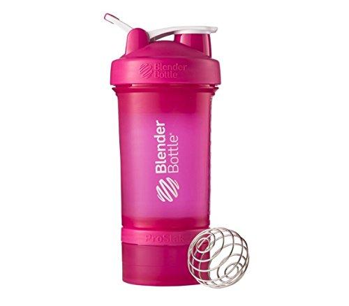 Blender Bottle ProStak System with 22 oz Shaker and Twist N Lock Storage Health Fitness Pink