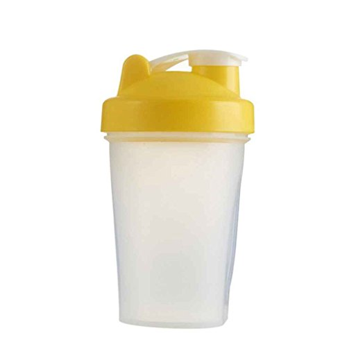 MuLuo 400ml Shake Gym Protein Shaker Mixer Drink Whisk Ball Portable Leakproof Sports Camping Shaker Water Bottles Yellow