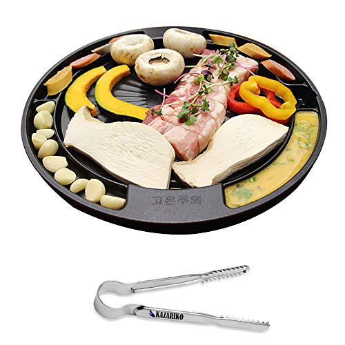 QUEEN SENSE CookKing Master Grill Pan Korean Traditional BBQ Indoor Outdoor Nonstick Cast Aluminum Plate Made in Korea  Locking Stainless Food 6 Tongs