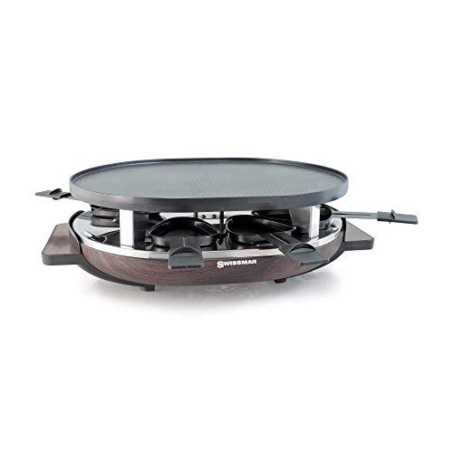 SwissMar KF-77068 8-Person Matterhorn Oval Raclette w Wood base reversible cast aluminum Non-Stick grill plate