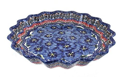 Polish Pottery Blue Art Scallop Quiche Dish