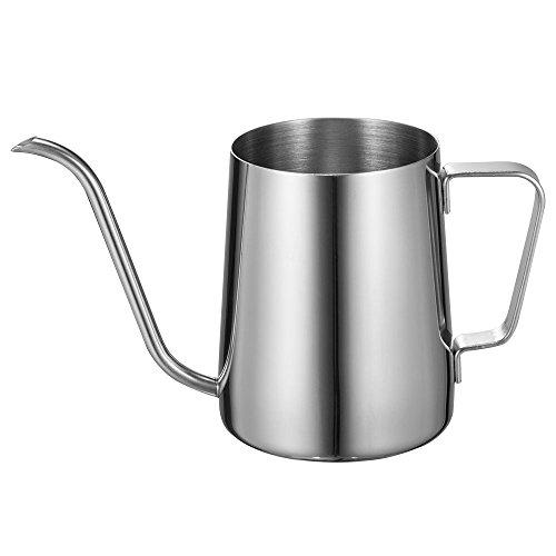 Long Narrow Spout Coffee Pot 12 Oz Small Fine Stainless Pour Over Drip Coffee Pot Gooseneck Tea KettleSilver 350ML