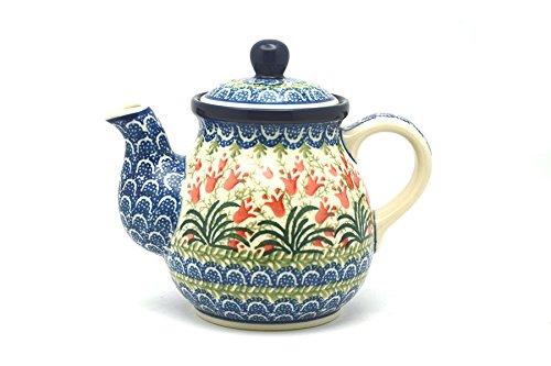 Polish Pottery Gooseneck Teapot - 20 oz - Crimson Bells
