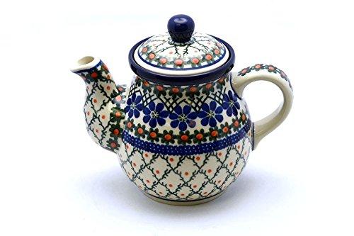 Polish Pottery Gooseneck Teapot - 20 oz - Primrose