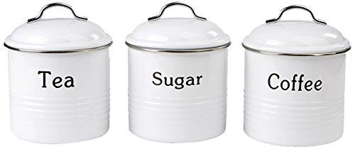 Mind Reader 3 Piece Coffee SugarTea Metal Canister Set White