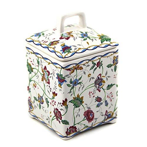 Ceramics Square Canister Multicolor Floral Pattern 16 Ounces