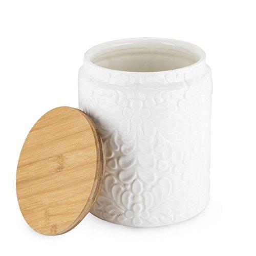 Tea Leaf Canister Textured Ceramic Large Storage Decorative Tea Coffee Canister