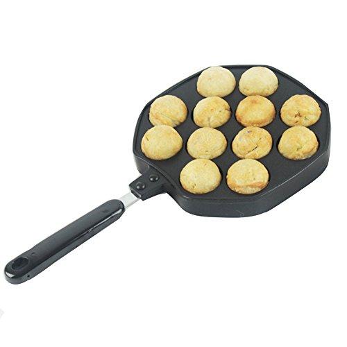 ELEOPTION Takoyaki Pan 12 Holes Octopus Balls Aebleskiver Grill Tray Mold Baking Plate Pan DIY Kitchen Cooking Tool For Octopus Balls 12Holes