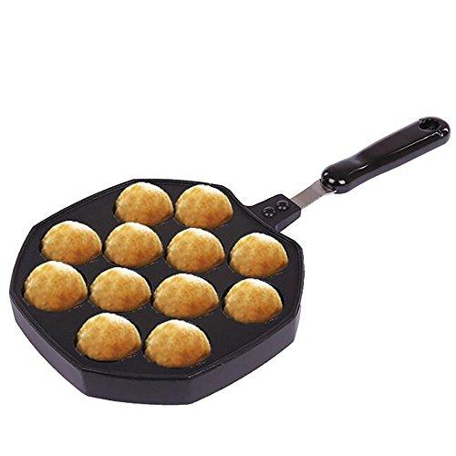 Takoyaki Pan 12 Holes Octopus Balls Grill Tray Mold Baking Plate Aebleskiver Cast Iron Pan