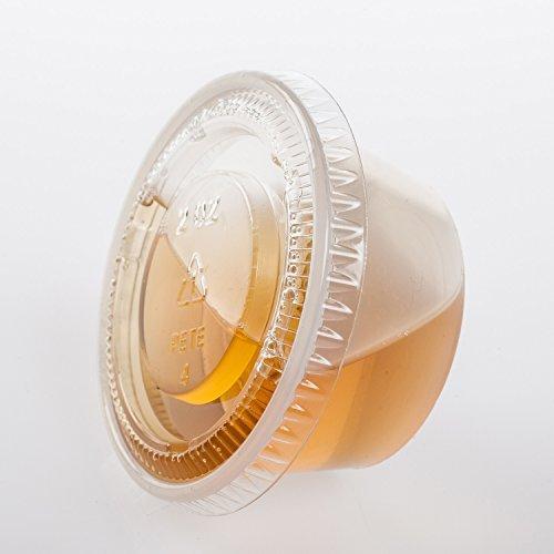 TashiBox 2 Oz Plastic Jello Shots Cups with Lids Portion Cups with Lids 150 Sets