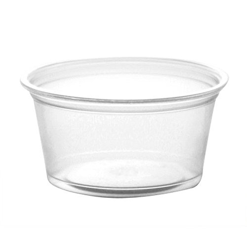 Dart 200PC 2 Oz Conex Clear Complements Portion Polypropylene Container Plastic Condiment Cups with Lids Souffle Portion Jello Shot Cups Salad Dressing Sauce Containers 100