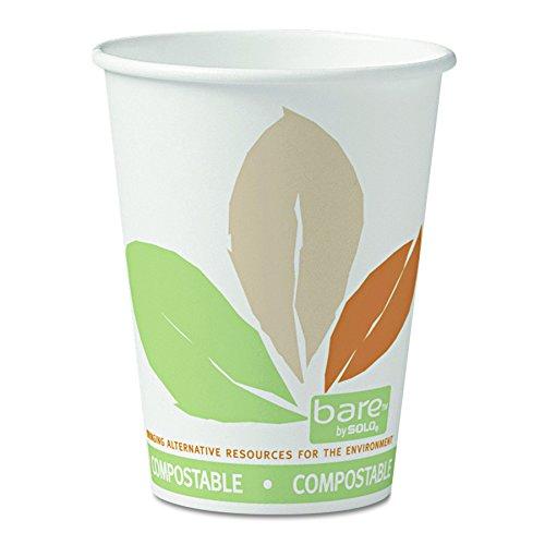 SOLO Cup Company 412PLNJ7234 Bare  by Solo Eco-Forward PLA Paper Hot Cups 12ozLeaf Design 50 Per Bag Case of 20 Bags