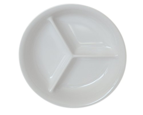 Set of 10 Amatahouse 3 Section Round Soy Sauce Dish Sushi Wasabi Plates Soy Sauce Dipping Bowls FW Melamine Cream 3 34 inch D186-4