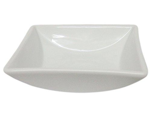 Set of 2 Amatahouse Elegant Square Sauce Dish Sushi Wasabi Plates Soy Sauce Dipping Bowls Royal Porcelain Classic White 35 6912
