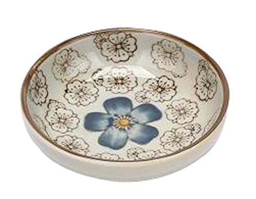 Set Of 4 Zakka Asian Style Round Ceramic Sauce Dishes Blue Flower