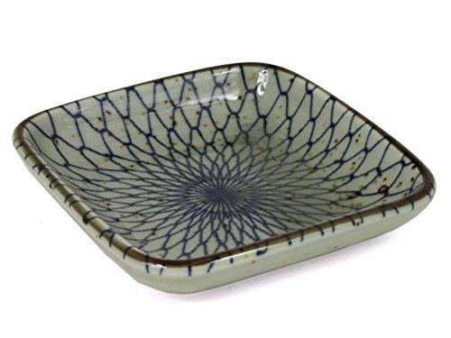4 Pcs Japanese 35 Square Porcelain Sushi Soy Sauce Dipping Dish Plates Blue Net Design