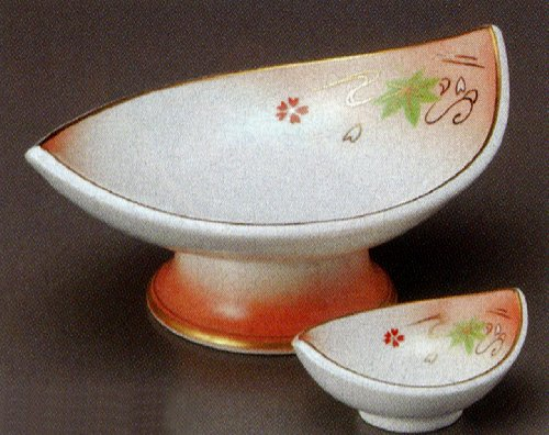 ORANGE-FUKI Jiki Japanese traditional Porcelain SASHIMI Plate and Soy-sauce bowl Set of 5
