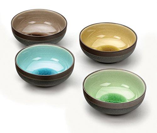 RSVP Japanese Crackle Porcelain Sauce Bowls Set of 4