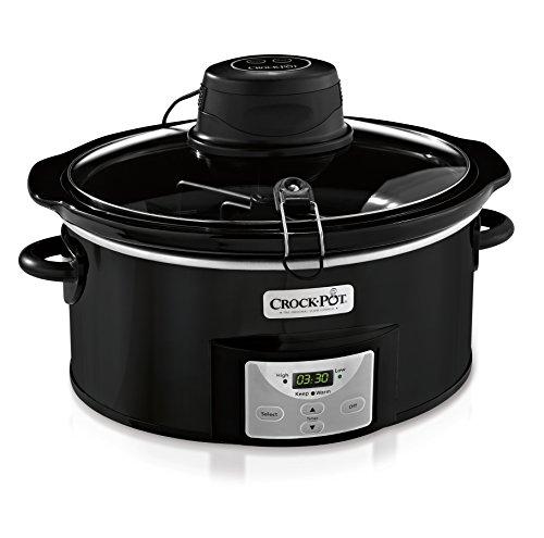 Crock-Pot 6-Quart Black Oval Programmable Digital Slow Cooker Auto Stir System