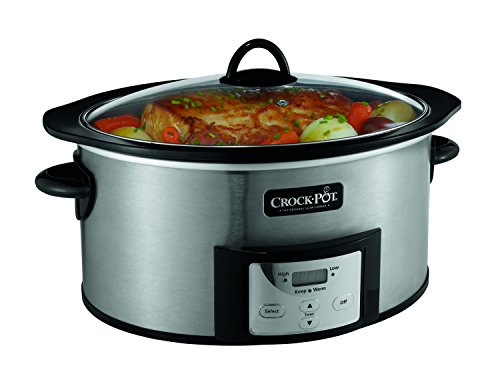Crock-Pot 6-Quart Countdown Programmable Oval Slow Cooker with Stove-Top Browning Stainless Finish
