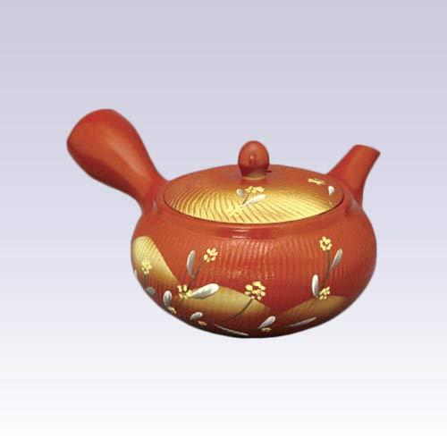 Tokyo Matcha Selection - Tokoname Kyusu teapot - Akira - Yellow Flower - 360ccml - Obal ami Stainless Steel net Standard Ship by SAL NO Tracking Number Insurance